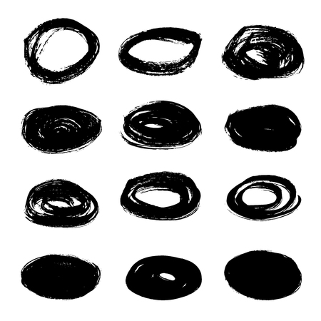 Set of grunge hand drawn oval shape  illustration