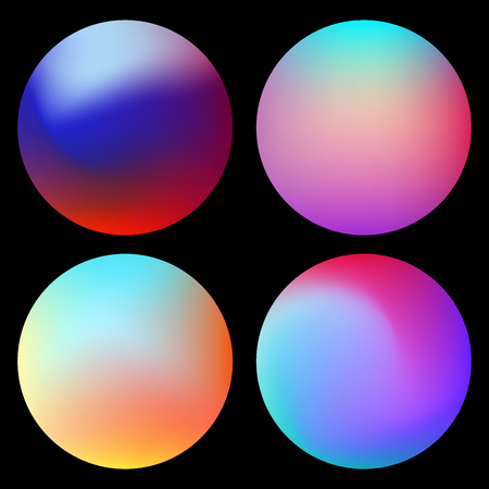 Set of creative vibrant gradient circles background  illustration. Mesh texture