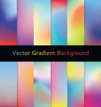 Set of colorful vibrant gradient backgrounds  illustration
