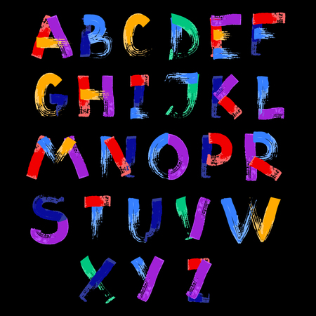 Abstract color splash font and alphabet on black background  illustration Imagens - 96856799