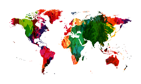 World map. Watercolor world map. Colorful map texture. Grunge spots  illustration Imagens