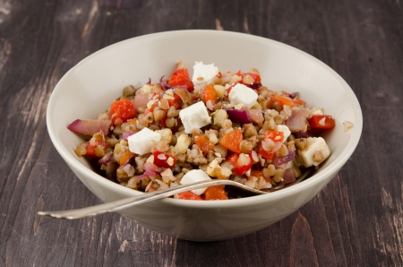 buckwheat salad with roasted peppers and feta
