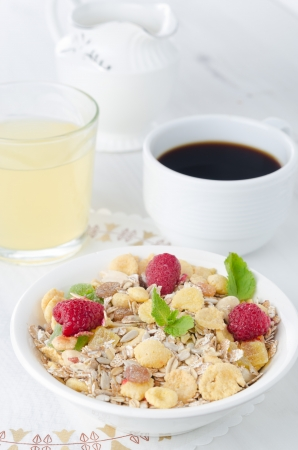 Cereal, coffee and juice for breakfast photo