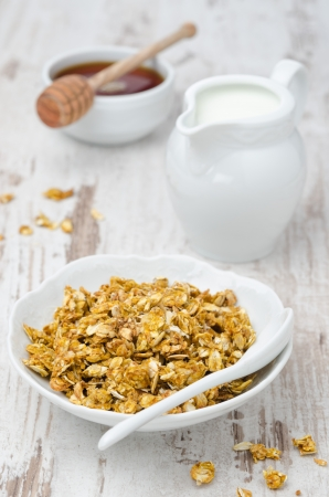 pumpkin granola with milk and honey on a white wooden table photo