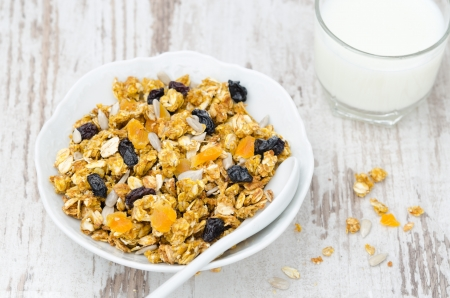 pumpkin granola with dried fruit and seeds in a white bowl, top view Stock Photo - 17639661