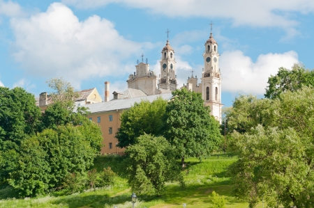 view of the old cathedral and a green garden in Vilnius photo