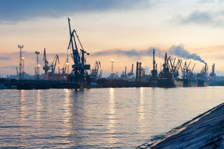Evening view of the sea port in St  Petersburg horizontal photo