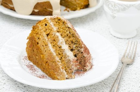 piece of carrots and pumpkin cake with coffee cream on the plate  Stock Photo - 18790063