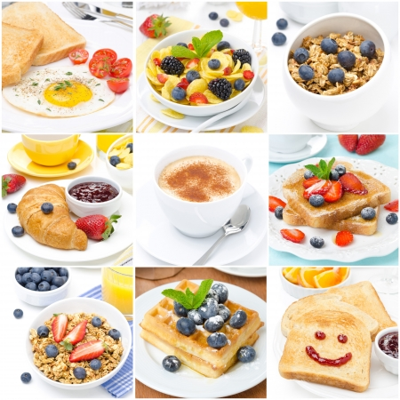 collage of several types of breakfast photo