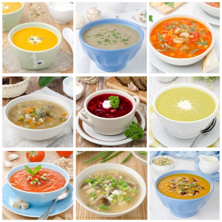 health collage: Collage of different soups