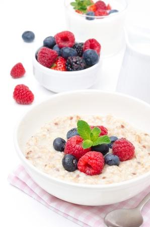 gesundes Frühstück - Haferflocken mit frischen Beeren in einer Schüssel auf weißem, frische Beeren und Joghurt in den Hintergrund Standard-Bild