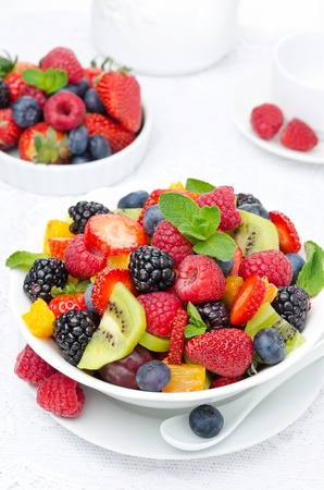 salad of fresh fruit and berries in a white bowl, berries and a cup of tea in the background, top view closeup