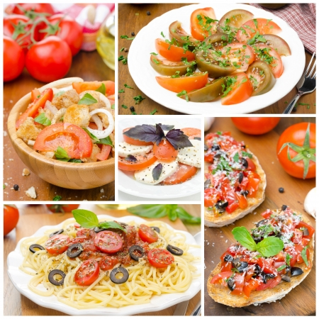 collage of different Italian dishes  salads, bruschetta and pasta