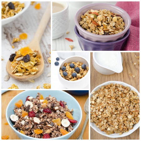 collage of five photos with granola closeup photo