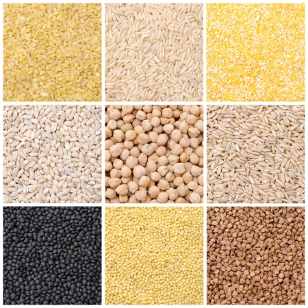 collage of nine kinds of cereals and legumes close-up