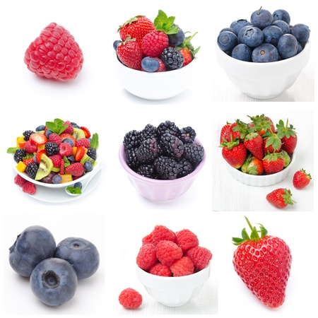 collage of nine pictures with fresh berries and fruit salad photo