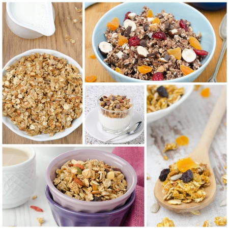 collage with different kinds of homemade granola close-up Stock Photo - 19874198