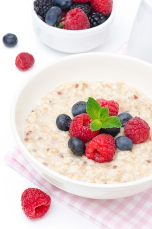 oatmeal with fresh berries in a bowl isolated on white, fresh fruit, yogurt, and milk jug in the background
