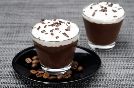 chocolate-coffee mousse with whipped cream in portions, close-up Stock Photo - 20869607