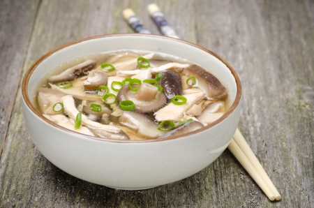meat soup: Chinese food -  bowl of soup with chicken, shiitake mushrooms and green onions, close-up