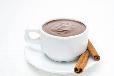 cup of hot chocolate with cinnamon, close-up