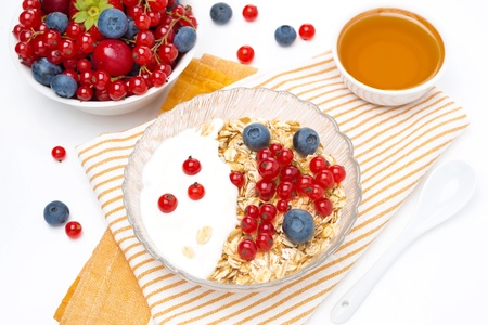 fresh breakfast - muesli with berries, yogurt, honey, top view photo