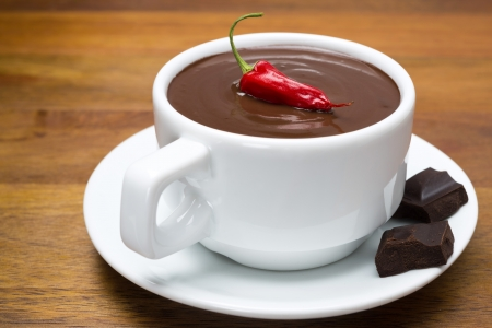 cup of hot chocolate with chili peppers on a wooden background, close-up, horizontal
