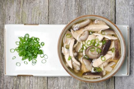 sopa de pollo: Sopa china con pollo, setas shiitake y las cebollas verdes, vista superior, horizontal