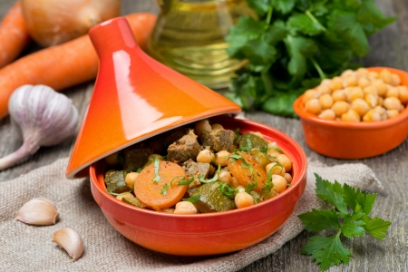 tagine with beef, chickpeas and vegetables, close-up