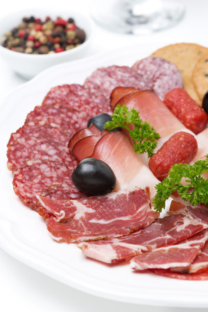 assorted deli meats on a plate, close-up, vertical photo