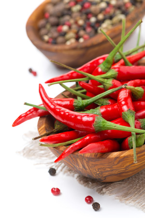 bowl with fresh chili pepper, close-up, isolated on white