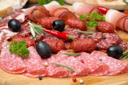 meats: Assorted meats and sausages, close-up, horizontal