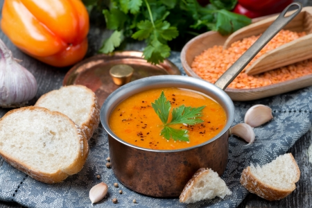 red lentil soup with pepper and spices, horizontal