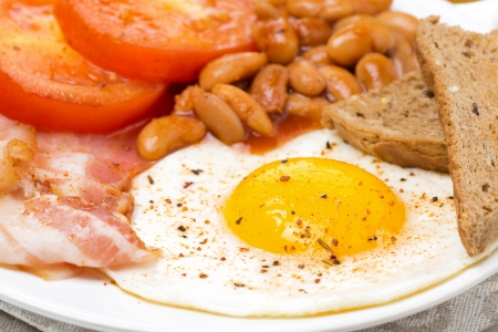 English breakfast with fried eggs, bacon and beans, close-up photo