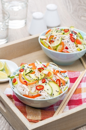 Thai salad with vegetables and chicken, vertical Stock Photo - 23844793