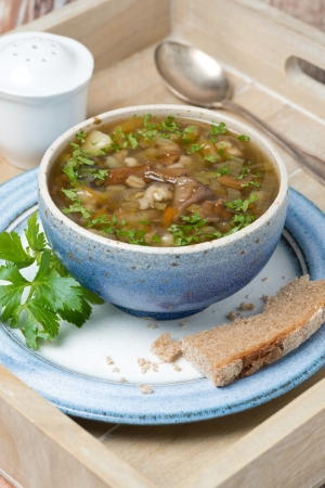 bowl of mushroom soup with pearl barley on a wooden tray, vertical photo