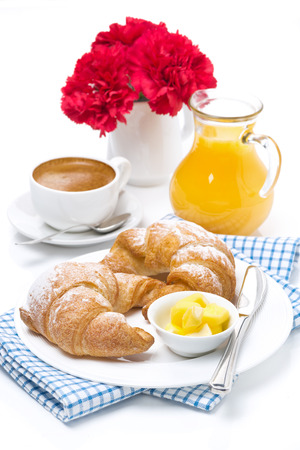 croissants with butter, coffee and orange juice for breakfast, vertical