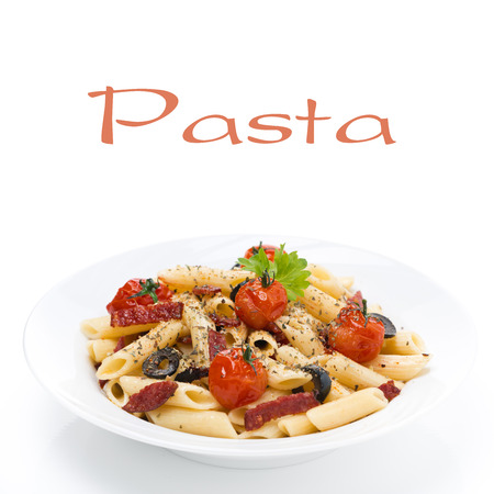 pasta with sausage, cherry tomatoes and olives on the plate, isolated on white Stock Photo - 24180494