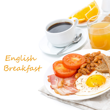 Traditional English breakfast with fried eggs, bacon, beans, coffee and juice, isolated on white