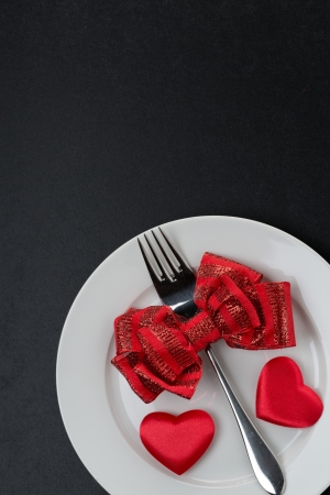 Festive table setting for Valentines Day, vertical