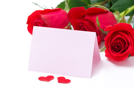 valentines day mother s: Card for congratulation and roses on a white background, isolated Stock Photo