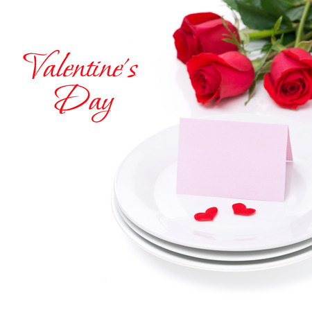 valentines day mother s: card for congratulation on a plate and roses for Valentines Day, isolated on white Stock Photo