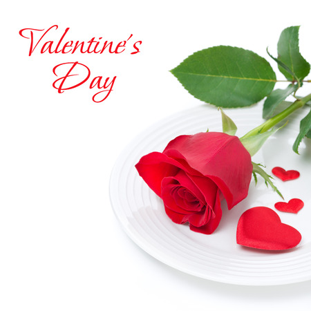 valentines day mother s: Festive table setting with red rose and heart, isolated