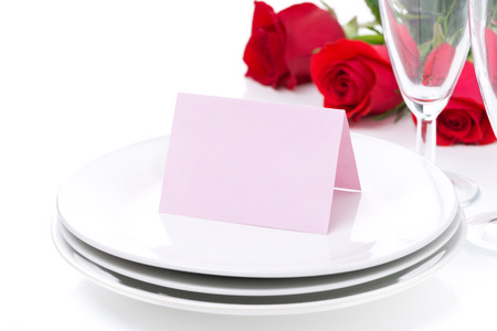valentines day mother s: card for congratulation on a plate, roses and glasses for Valentines Day, isolated