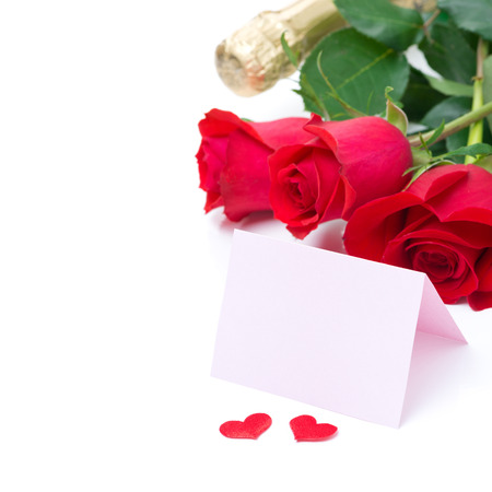 Card for congratulation, roses, champagne, isolated on white photo