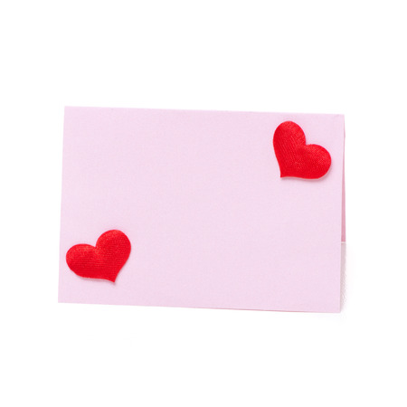 valentines day mother s: Pink card for congratulation with hearts Valentines Day, isolated on white Stock Photo
