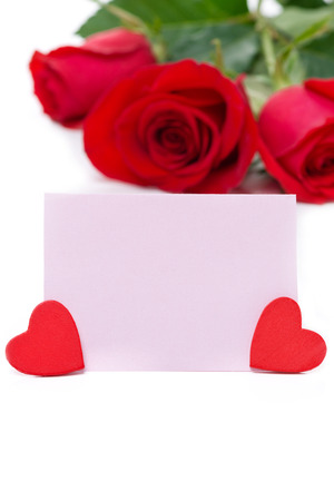 valentines day mother s: pink card for greetings, hearts and red roses, isolated on white