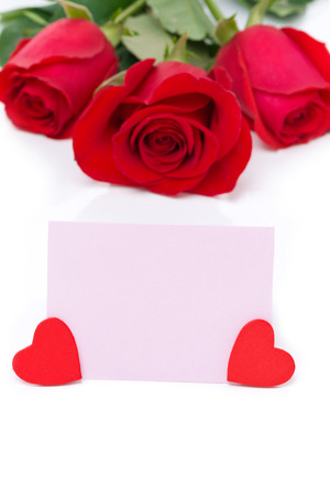 valentines day mother s: pink card for greetings, hearts and red roses, isolated