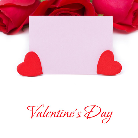 valentines day mother s: pink card for greetings, red hearts and roses, isolated on white Stock Photo