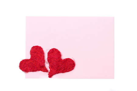 valentines day mother s: pink card for congratulation with red hearts, isolated on white